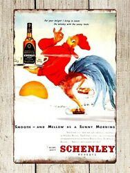1947 Ad Schenley Whiskey Rooster Ice Skating Sunrise metal tin sign office art $15.69