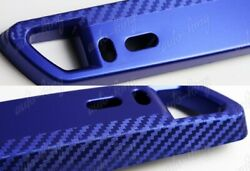 JDM Style Blue Carbon Look Bumper Front License Plate Holder Relocate Bracket