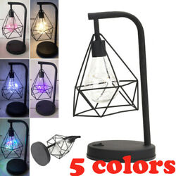 Industrial Desk Light Table Lamp Battery Powered Caged Lantern Iron Desk Lamp