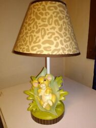 Vintage Disney The Lion King Simba Lamp w Leopard shade. Discontinued- works