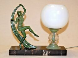 Max Le Verrier Style  Art Deco Desk Lamp  with Dancing Figurine 1930s