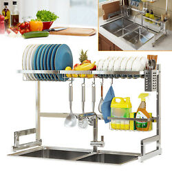 Large Capacity Over The Sink Dish Drying Rack Stainless Steel Kitchen Holder US $37.05
