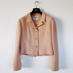 Chanel Tweed Jacket Peach Pink Classic Coco Buttons 00C Size 42 France