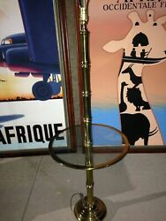Vintage Faux Bamboo Brass Floor Lamp w Brass Trimmed Glass Table $179.00