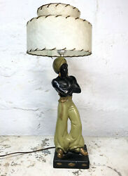 RARE Vintage Mid Century Chalkware Table Lamp Man W Sword 2 Tier Original Shade