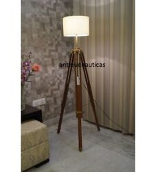 Nautical Handmade Floor Shade Lamp Brown Antique Collectible Wooden Tripod Stand $95.50