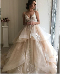 Floral Lace Ruffles V Neck Backless Beach Wedding Dress Bridal Gown