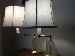 Traditional Swing Arm Desk Table Lamps Brass Off White Shade Living Room Bedroom $89.99