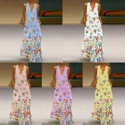 Plus Size Lady Butterfly Print Long Dress Sexy Holiday Sleeveless Party Sundress $22.85