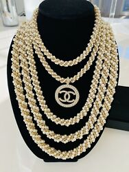 CHANEL NECKLACE IN PEARLS 5 LAYERED STRANDS- AUTHENTIC LIMITED EDITION