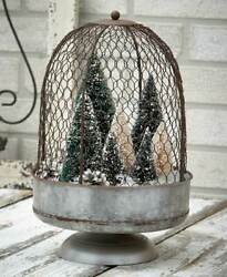 Large Rustic Country Chicken Wire Farmhouse Cloche Centerpiece Display Stand $21.72