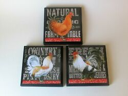 Rooster Kitchen Room Wall Plaques Set of 3 Rooster Farm House Country Decor $18.99