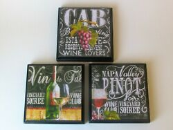 Wine Kitchen Room Wall Plaques Set of 3 Wine Bistro House Country Decor $18.99
