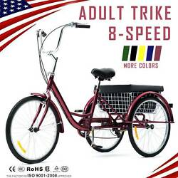 26quot; 24quot; 20quot; 8 Speed Adult Tricycle Trike Cruise 3 Wheel Bike with Large Basket $254.99