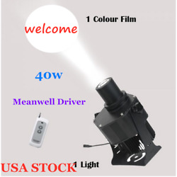 US 40W Outdoor Black Remote LED Gobo Projector Advertising Light Tattoo Store $201.16