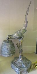 Maitland-Smith Parrot Bird on a Branch metal brass resin bronze table desk LAMP