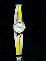 Womens Fossil Watch with yellow and tan crossed band $30.00