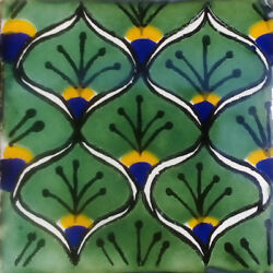 C#056) MEXICAN TILES CERAMIC HAND MADE SPANISH INFLUENCE TALAVERA MOSAIC ART