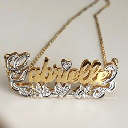 Personalized 3D Double Name Plate Necklace in Gold Plated Silver  Heart