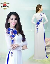 Ao Dai Traditional Vietnamese Long Dress Collections with Pants Silk print 3D $95.00