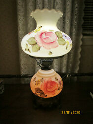 VINTAGE  GONE WITH THE WIND HURRICANE TABLE LAMP – 3 WAY HAND PAINTED FLORAL