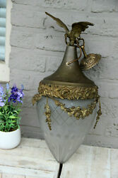 Antique French lantern chandelier brass metal crystal glass shade cut eagle rare $1100.00