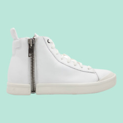 DIESEL S Nentish Mens High Top Leather Fashion Sneaker White Size 8.5 NEW $125.99