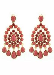 Bollywood Indian Earrings Chandelier Swarovski Crystal Asian Pakistani Red GBP 5.00