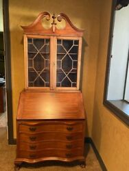 1940s Chippendale Mahogany Secretary Serpentine Oxbow Ball & Claw Feet bookcase