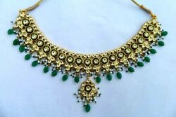 22k YELLOW GOLD JADAU NECKLACE VINTAGE INDIAN TRADITIONAL FABULOUS  NEKCLACE