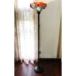 Tiffany Style Stained Glass Azalea Torchiere Floor Lamp Antique Bronze Base $201.40