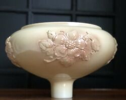 Update Fitter Size Antique Dogwood Majolica Milk Glass Torchiere Lamp Shade 14quot; $100.00