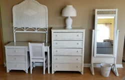 Henry Link Beautiful White Wicker Bedroom Furniture Dresser Desk Set