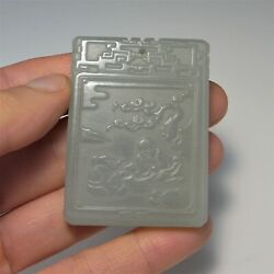 Antique Green Jade Pendant Chinese Lucky Cameo Carved Nephrite Immortals Qing Qi