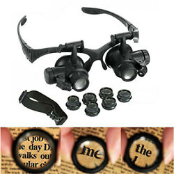 10X 15X 20X 25X Magnifying LED Double Eye Magnifier Glasses Loupe Reading Repair $12.99