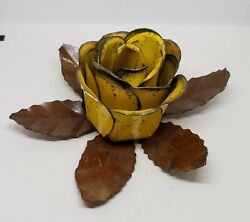 Vintage Tole Metal Cabbage Rose Yellow Flower Taper Candle Holder $24.00