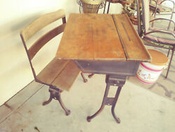 Antique School Desk 1940's ? Homeschool Metal & Wood