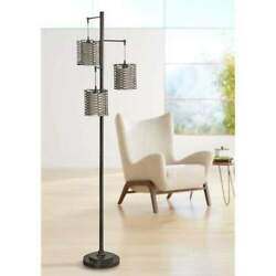 72 in. Bronze Floor Lamp with Brown Rattan Hardback Fabric Shade $65.00