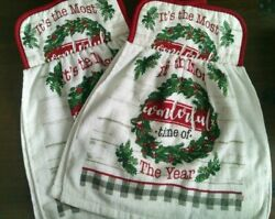 Christmas Wonderful print towel with potholder top for hanging set of 2 HandyNEW $8.99