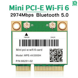 3000Mbps WiFi 6 Wireless Card Mini PCI E Bluetooth 5.0 Dual Band for PC Laptops $24.99