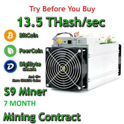 Bitmain Antminer S9 13.5 THashsec X's 2 Guaranteed 7 Month Mining Contract!