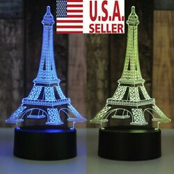 3D LED illusion Eiffel Tower table Night Light Lamp Bedroom Child Gift  7-Color