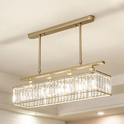 4 Light Rectangle with Clear Crystal Ceiling Pendant LED Contemporary Chandelier $199.00