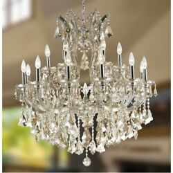 19 Light Chrome Finish W 30quot; x 28quot; Maria Theresa Golden Teak Crystal Chandelier $1399.30