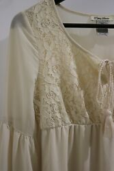 Cream Bohemian Dress Long Sleeve Bell Sleeve Size Small With Liner Under $20.00