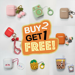 Cute AirPods Silicone Case for 1 2 Protective Cover with Keychain 100 Styles $6.95