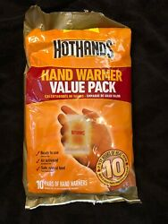 HOTHANDS HAND WARMER VALUE PACK UP TO 10 HRS OF HEAT 10 PAIRS good expiration $8.50