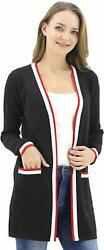 Women Long Open Front Casual Maxi Sleeve Cardigan Sweater with Pocket Black S $26.49