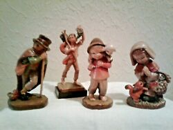 Set of 4 Vintage Wood Carving Figurines by ANRI of Italy $49.00