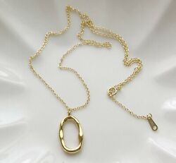 925 Sterling Silver Go Round Gold Circle Geometric Pendant Necklace 16 18quot; $16.75